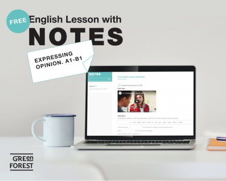 Free English Lesson with Notes. Expressing Opinion. A1 - B1
